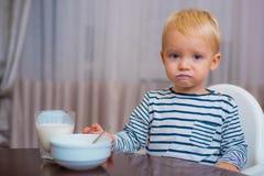 Free Baby Nutrition. Eat Healthy. Toddler Having Snack At Home. Boy Cute Baby Eating Breakfast. Child Eat Porridge. Kid Cute Royalty Free Stock Image - 152460506