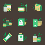 Baby nutrition flat color icons. Green and yellow flat color icons set for baby food on black background. Baby puree, vitamins bar, juice and soup. Elements of Royalty Free Stock Photography