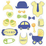 Baby 15 objects clip art set. Set of baby shower elements isolated on white background. Vector illustration Stock Photography