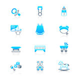 Baby objects icons | MARINE series Royalty Free Stock Images