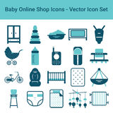 Baby Online Shop Icons On A White Background. Vector Icon Set. Royalty Free Stock Images