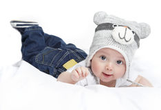 Baby op witte achtergrond royalty-vrije stock foto's