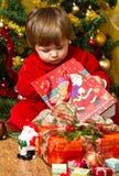 Baby open present box Stock Image