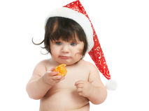 Baby with orange Royalty Free Stock Photo