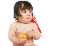 Baby with orange Royalty Free Stock Photography