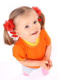 Baby in orange t-shirt look. Stock Photography