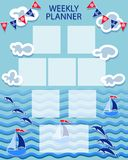 Baby organizer. Summer marine themes. WEEKLY PLANER. Time of adventure and sea voyages. The layout can also be used for children`s photos Royalty Free Stock Images