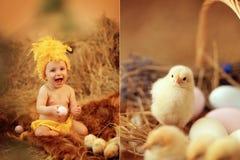 Baby in Ostern-Nest Lizenzfreie Stockbilder