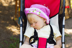 Baby outdoor sleep in stroller 3861 Stock Photography