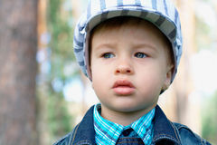Baby outdoors with copy space Royalty Free Stock Photo