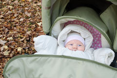 Baby outdoors in pushchair. Baby dressed in warm clothes lying in pushchair outdoors in autumn Stock Photos