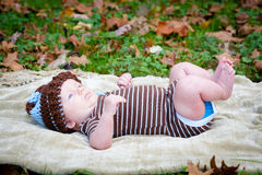 Baby Outside Looking Up Royalty Free Stock Image