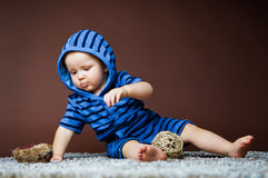 Baby in overalls Royalty Free Stock Image