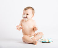 Baby Overly Excited About Eating Cake Stock Photo
