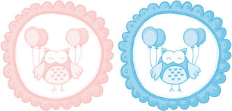 Baby owl baby shower sticker labels Royalty Free Stock Images