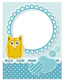 Baby owl blue scrapbook frame Royalty Free Stock Photography
