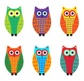 Baby owl cartoon set, cute colorful owls. Vector illustration.  Stock Image