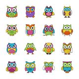 Baby Owl Flat Icons. Flat icons set of owls has a single bird but designed adorably that each icon is different from another, The colorful, bright and cartoon Stock Photography