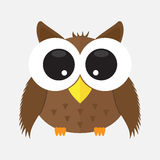 Baby owl with glass cartoon character icon . animal cute Stock Image
