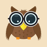 Baby owl with glass cartoon character icon  background . animal cute logo element Stock Image