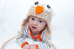 Baby in Owl Hat Stock Photography