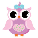 Pink Baby Owl with Ribbon Vector Stock Images