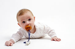 Baby with pacifier. Baby portrait with pacifier on white background Stock Images