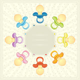 BABY PACIFIER ARRIVAL CARD. Vector Illustration Of a Baby Pacifier Arrival Card  with card Copyspace for your Text Royalty Free Stock Photo