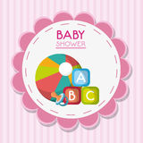 Baby pacifier ball and toy inside flower seal stamp design royalty free illustration