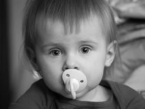 Baby with pacifier, black and white stock images