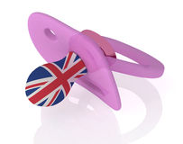 Baby pacifier with uk flag Royalty Free Stock Photo