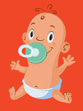 Baby with pacifiers Stock Image