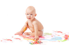 Baby with paint Royalty Free Stock Images