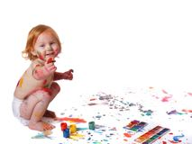 Baby in  paint Stock Image