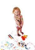 Baby in  paint Royalty Free Stock Photography