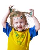 Baby in  paint Royalty Free Stock Photos