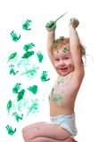 Baby in  paint Royalty Free Stock Images