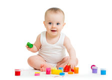 Baby paint by his hands - on white background Royalty Free Stock Photo