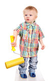 Baby with Paint Roller Royalty Free Stock Image