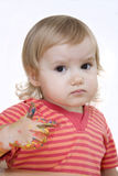 Baby with painted hand Stock Photography