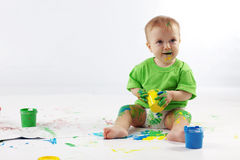 Baby painter Royalty Free Stock Images
