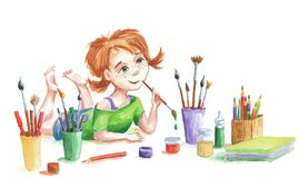 Baby painter. With art supples: watercolors, brushes, pencils, markers Royalty Free Stock Photos