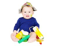 Baby painter with paints age of 6 months Royalty Free Stock Images
