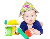 Baby painter with paints age of 6 months Royalty Free Stock Image