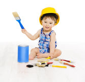 Baby Painting Brush Color. Child Boy Funny Little Designer. Small Kid Play in Hard Hat, Early Profession Concept, Isolated over White Background Royalty Free Stock Photos