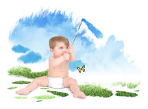 Baby Painting Green Nature Sky. A young baby is painting a blue sky and green grass with a paint brush. The child is sitting on a white background stock image