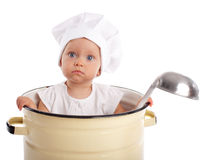 Baby in pan Stock Photos