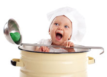 Baby in pan. Isolated on white Royalty Free Stock Photography