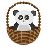 Baby Panda Basket Vector Illustration Stock Foto's