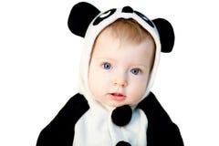 Baby in panda costume royalty free stock image